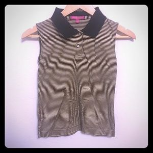 Collared sleeveless striped shirt